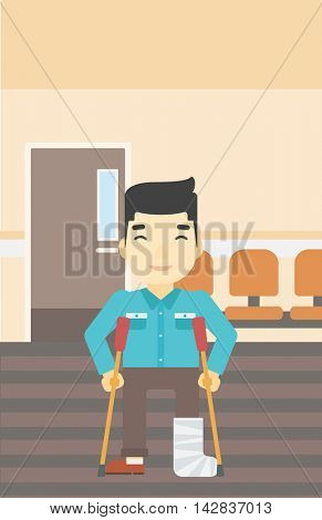 An asian injured man with leg in plaster. Man with broken using crutches. Man with fractured leg in the hospital corridor. Vector flat design illustration. Vertical layout.