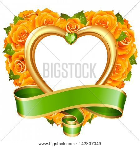 Vector rose frame in the shape of heart. Yellow flowers, ribbon, golden border and green diamond