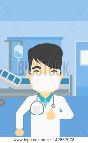 An asian doctor in mask giving thumbs up. Happy doctor with thumbs up in the hospital room. Doctor showing thumbs up gesture. Vector flat design illustration. Vertical layout.