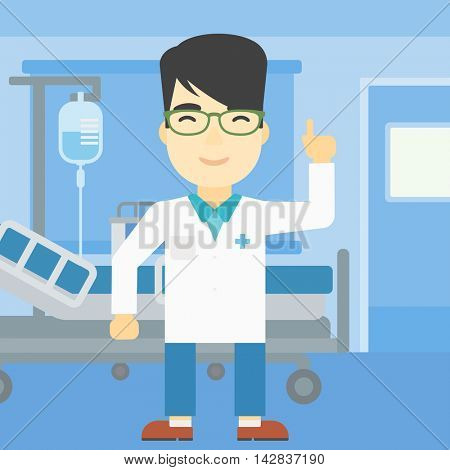 An asian doctor in medical gown showing finger up. Doctor with finger up in the hospital ward. Man in doctor uniform pointing finger up. Vector flat design illustration. Square layout.