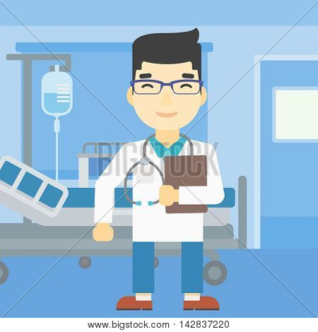 An asian friendly doctor holding a file in hospital ward . Smiling doctor with stetoscope carrying folder of patient or medical information. Vector flat design illustration. Vertical layout.