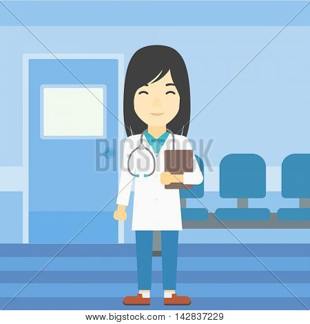 An asian friendly doctor holding a file in hospital corridor. Smiling female doctor with stetoscope carrying folder of patient or medical information. Vector flat design illustration. Square layout.