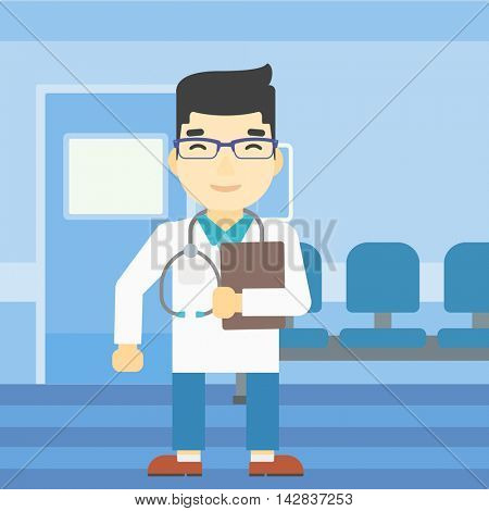 An asian friendly doctor holding a file in hospital corridor. Smiling doctor with stetoscope carrying folder of patient or medical information. Vector flat design illustration. Square layout.