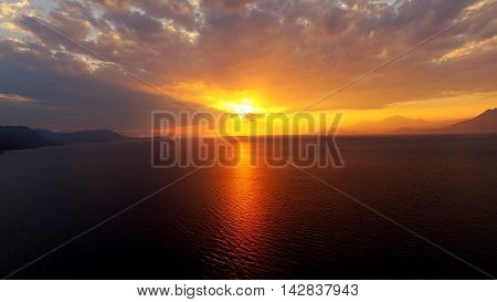 sunset seasides greece athens alepochori from above cloudy
