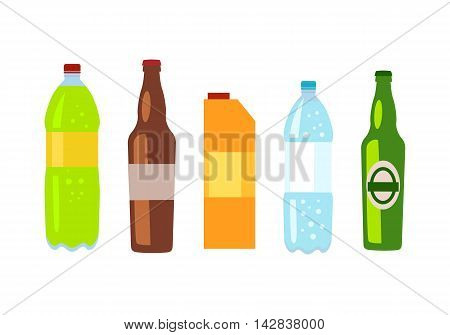 Beverages isolated white. Set of drinks in bottles and packs. Healthy and junk drinks. Alcoholic and nonalcoholic beverages. Part of series of promotion healthy diet and good fit. Vector illustration
