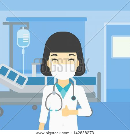 An asian female doctor in mask giving thumbs up. Happy doctor with thumbs up in the hospital room. Doctor showing thumbs up gesture. Vector flat design illustration. Square layout.