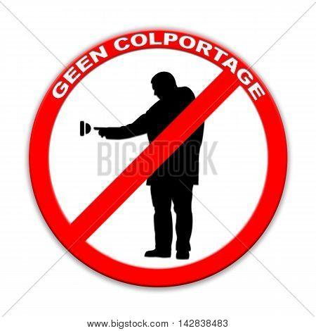 Do not ring doorbell sign door-to-door sales  isolated on white Dutch