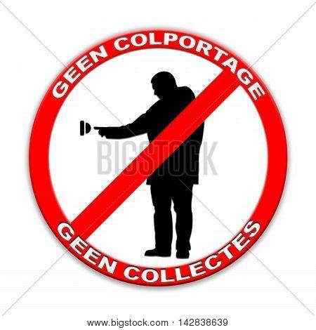 Do not ring doorbell sign door-to-door sales, door-to-door charity collectors  isolated on white Dutch