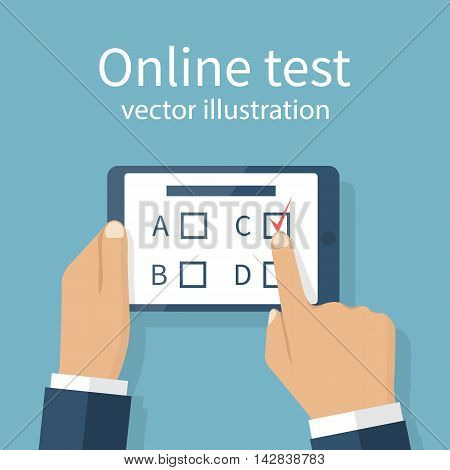 Man holding tablet in hands takes part in online test. Touching finger to screen version of the questionnaire. Quiz on mobile device. Vector illustration flat design. Survey on Internet. E-education.