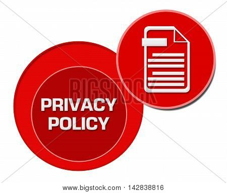Privacy policy concept image with text and related symbol.