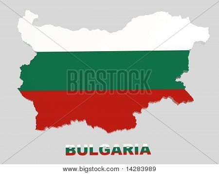 Bulgaria, Map with Flag, Isolated on Grey with Clipping Path