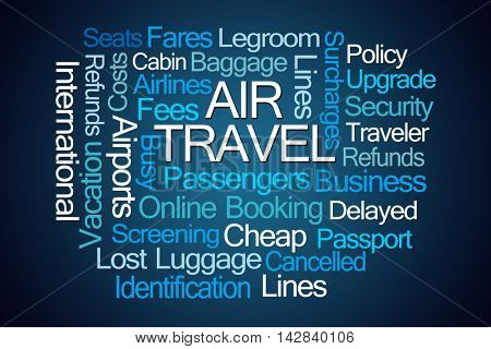 Air Travel Word Cloud on Blue Background