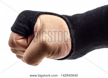 boxer fist with wrist wraps gloves on a white background