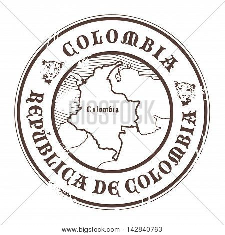 Grunge rubber stamp with the name and map of Colombia, vector illustration