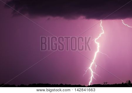 Huge Fork Lightnings And Thunder During Heavy Summer Storm.
