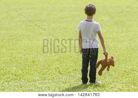 Sad young boy is holding a brown teddy bear and standing on the meadow. Back view. Sadness fear frustration loneliness concept