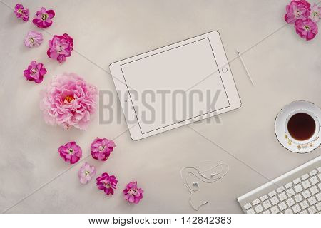 Styled mock up flatlay stock photography using a hand painted background tablet device to place your business social media or blog message or design perfect for lifestyle bloggers