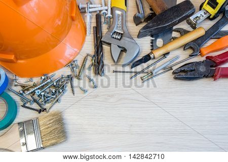Many construction tools construction composition tool suitcase work plan power tools building.
