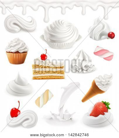 Whipped cream, milk, ice cream, cake, cupcake, candy. Sweet 3d vector icon set