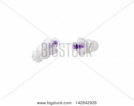 Ear protection music earplugs isolated on white