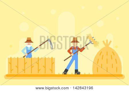 Autumn peasant harvestman harvest Icon Village Hills Field Landscape Background Flat Design Vector Illustration