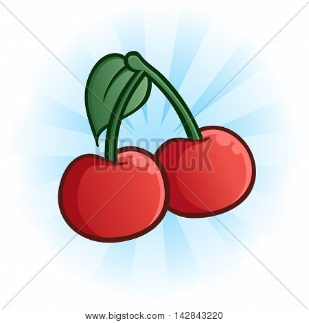 Red cartoon cherries with a green stem and leaf against a blue burst background