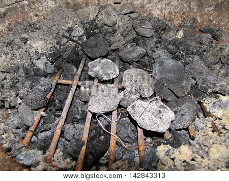The Inside Of A Fire Pot The Day After, Charcoal Remains