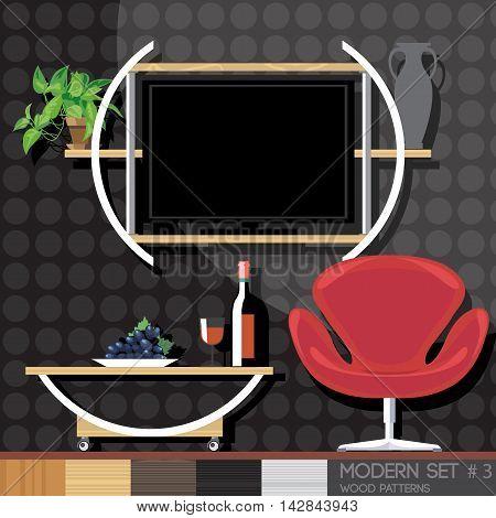 Modern style interior set flat style. Digital vector image