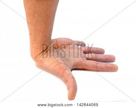Hand In Awkward Overstretched Position Isolated On White