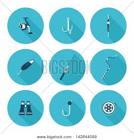 flat icons fishing in vector format eps10