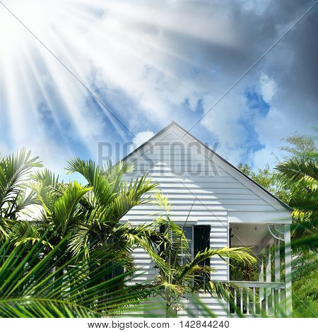 exterior of single house over sunny and cloudy sky