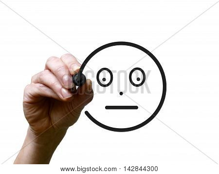 Hand Draws Happy Smiley With Black Marker On Transparent Whiteboard