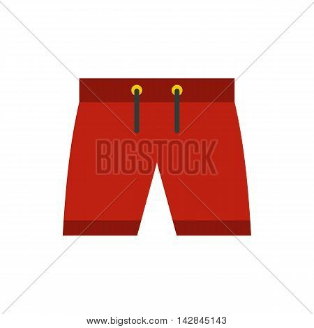 Red shorts for swimming icon icon in flat style on a white background