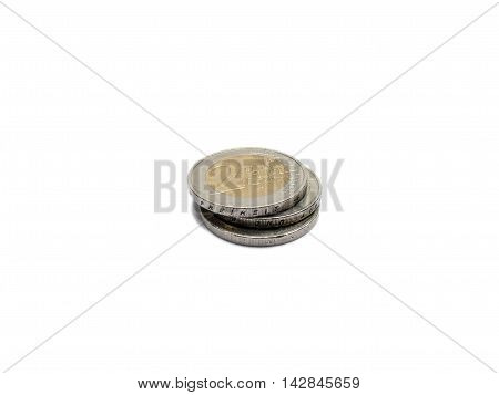 Small Change Euro Money 2 Euro Coins Isolated On White