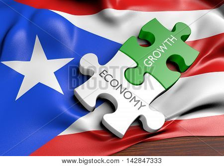 Puerto Rico economy and financial market growth concept, 3D rendering