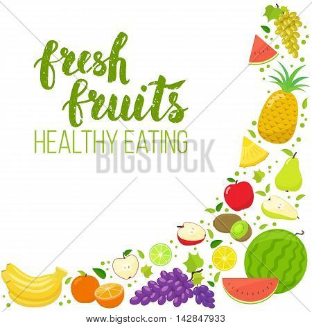 Corner frame of colorful fruits isolated on white background. Handwritten lettering organic food. Vector stock illustration.