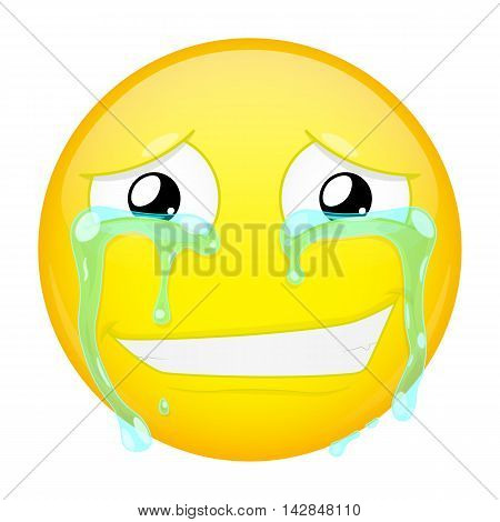 Smiling crying emoji. Smirk emotion. Grin emoticon. Illustration smile icon.