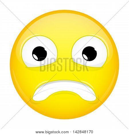 Shock emoji. Surprise emotion. Puzzled emoticon. Illustration smile icon.
