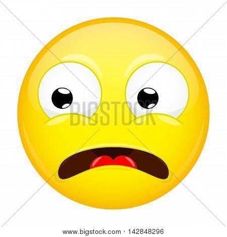 Shocked emoji. Fear emotion. Horror emoticon. Illustration smile icon.