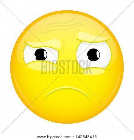 What emoji. Do not understand emotion. Puzzled emoticon. Illustration smile icon.