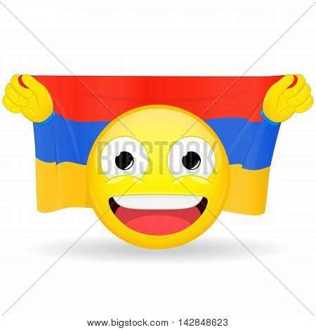 Emoji fan holds in hands flag behind his head. Armenian flag. Fan cares for his country. Glory spectator bawl emotion. Exult emoticon. Buff of sports games smile illustration.