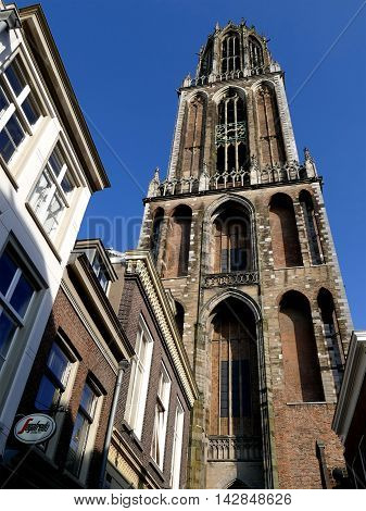 Utrecht, The Netherlands - February 27, 2016: Utrecht Dom Tower