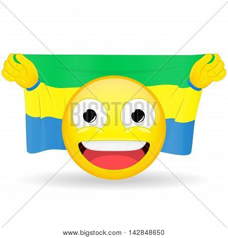 Emoji fan holds in hands flag behind his head. Gabonese flag. Fan cares for his country. Glory spectator bawl emotion. Exult emoticon. Buff of sports games smile illustration.