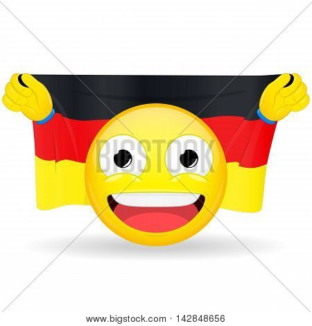 Emoji fan holds in hands flag behind his head. German flag. Fan cares for his country. Glory spectator bawl emotion. Exult emoticon. Buff of sports games smile illustration.