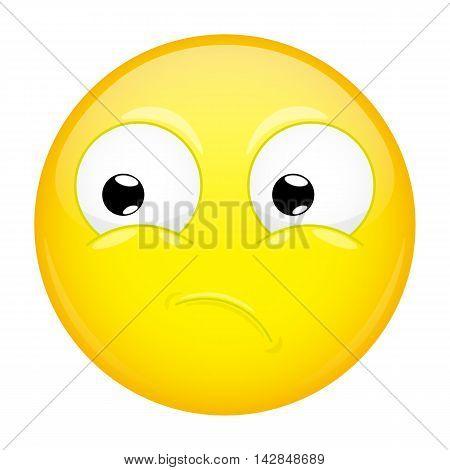 What emoji. Wow emotion. Puzzled emoticon. Illustration smile icon.