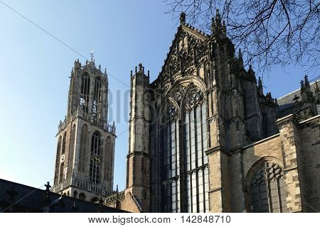 Utrecht, The Netherlands - February 27, 2016: Utrecht Dom Tower And Dom Church