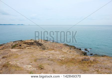 Calm scene of seascape view from cape mountain at Mu Ko Samet National Park in Rayong Thailand.