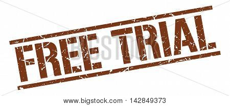free trial stamp. brown grunge square isolated sign