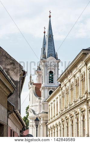 Saint Ignatius church and christian museum in Esztergom Hungary. Religious architecture. Place of worship. Travel destination. Cultural heritage. Vertical composition.