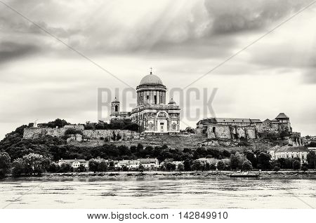 Beautiful basilica in Esztergom Hungary. Cultural heritage. Travel destination. Black and white photo. Largest building. Place of worship. Religious architecture.